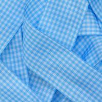 Baby Blue Gingham Ribbon 10mm
