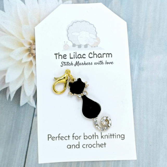 Black Cat Stitch Marker, Progress Keeper