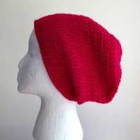 Red Crochet Slouchy Beanie Hat