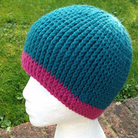 Crochet ribbed beanie hat, one size womens