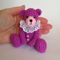 Small miniature crochet bear