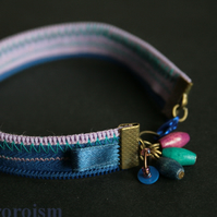 Lilac and Indingo ZIPPER BRACELET with charms and beads