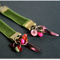Moss and Heather - green velvet ribbon earrings, glass bead and brass