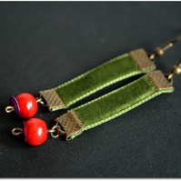 Moss and Berry - green velvet ribbon earrings, wooden bead and copper