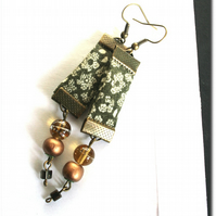Olive and Honey - green floral textile earrings, glass bead and brass