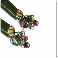 Moss and Heather II- green velvet ribbon earrings, glass bead and brass