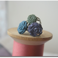Handcrafted Cabochon Flower adjustable rings - SELECTION of 3 - denim blue rose,