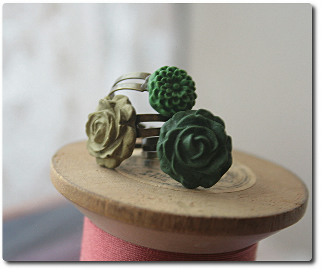 Handcrafted Cabochon Flower adjustable rings - SELECTION of 3