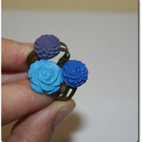 Handcrafted Cabochon Flower adjustable rings - SELECTION of 3 - lagoon blues