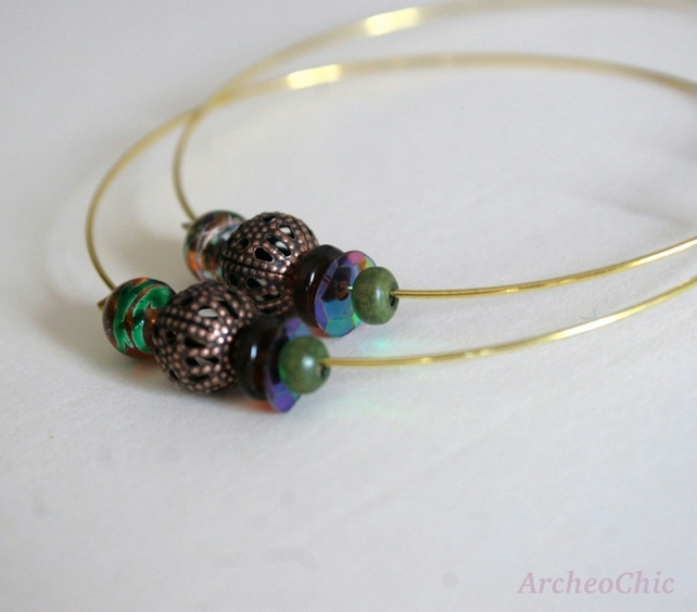 AURORA - filigree hoop with copper and green