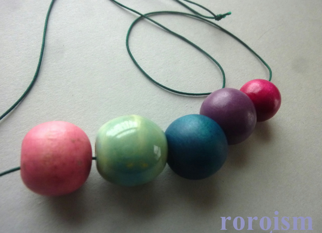 Trendy SKY BLUE and PINK ceremic, wood and string necklace