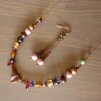 Heather Honey - autumanl glass & wood  jewelry SET