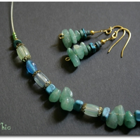 SHAYLEE - Green AGATE ethnic and turquoise  jewelry SET
