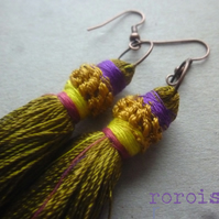 Upcycled vintage TASSEL Earrings with Modern Twist