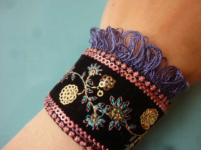 Black VELVET embroidered FOLK Cuff with a trim