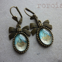 Illuminated Blue and Gold Glass Cabochon Earrings on Brass