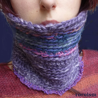 Crocheted Cowl with frills in Heather and Lilac Purple