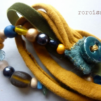 Curry and Teal - textile beads ceramic brancelet