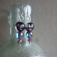 Purple and Sapphire Swarovski Glass Earrings  on Sterling Silver