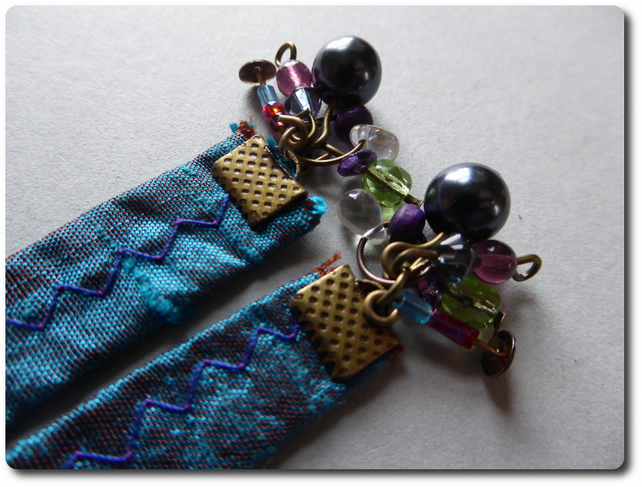 Indian silk, brass and beads dangle earrings 2