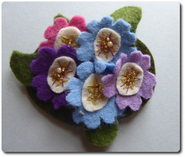 PRIMROSE corsage in blues and purples