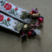 Brass red and white Folk floral textile earrings