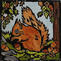 Red Squirrel lino print, limited edition