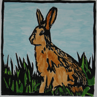 Brown Hare lino print, limited edition