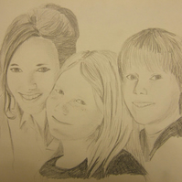 Custom made pencil portrait taken from photographs