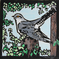 Cuckoo lino print, limited edition