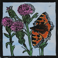 Large tortoiseshell Butterfly lino print, limited edition