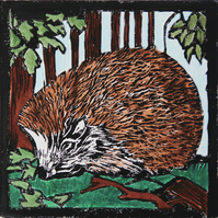 Hedgehog lino print, limited edition