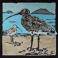 Curlew lino print, limited edition