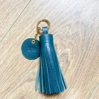 Handcrafted Personalised Leather Tassel Bag Charm