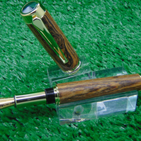 Hand Made Fountain pen in Mexican Bocote wood with a chrome finish