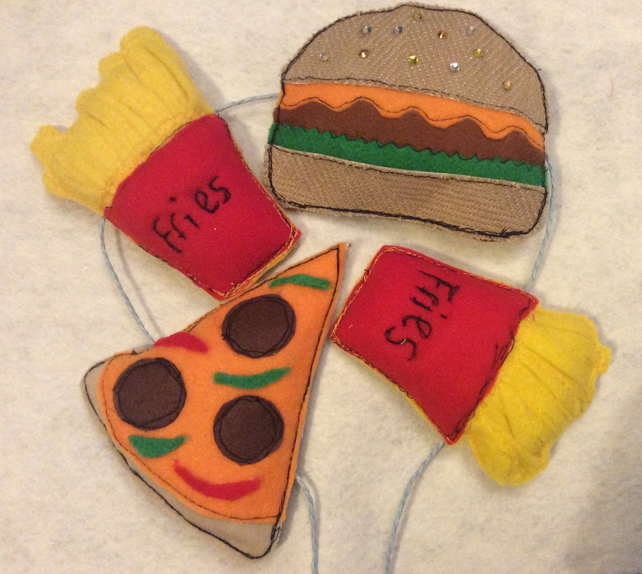 Bunting felt fast food garland and pizza card