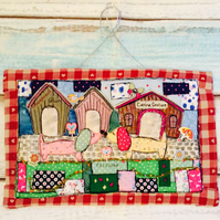 Textile art wall hanging , dachshunds