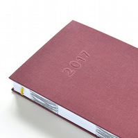 2017 Diary – Week to View Hand Bound Diary – Burgundy