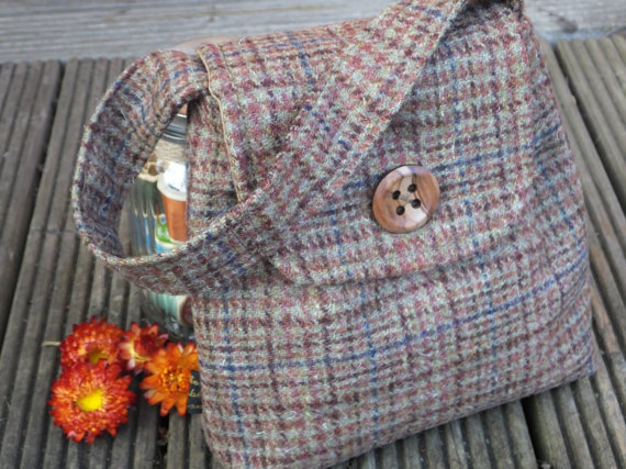 Wool check handbag - small handbag - evening bag - brown check bag - glen check