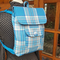 Blue check wool backpack, rucksack, knapsack, handmade, bags, lightweight
