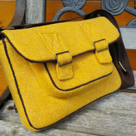 Yellow Harris Tweed satchel, bags, handmade bag, mustard yellow, shoulder bag,