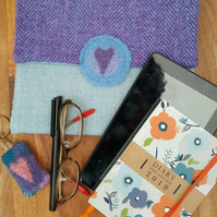 Harris Tweed tablet sleeve, storage pouch, E-reader case, protective sleeve