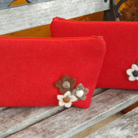 Red make up bag, Harris Tweed, cosmetic bag, zipped pouch