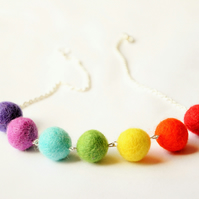Rainbow felt necklace, Wool necklace, Quirky necklace, Natural necklace
