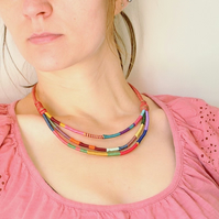 African thread wrap necklace, Layered necklace, Multicolor necklace
