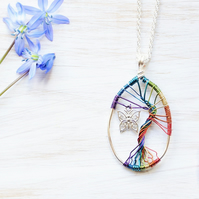 Rainbow necklace, Tree of life, Tree necklace, Fairy necklace, Butterfly, Bird