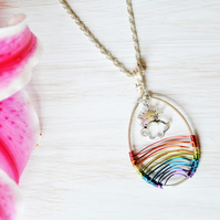 Weather necklace, Sun necklace, Cloud jewellery, Rainbow necklace, Scotland