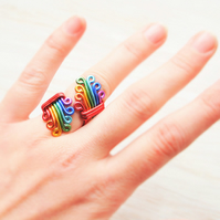 Rainbow ring, Adjustable ring, Statement ring, Gay Pride, Wire wrap ring