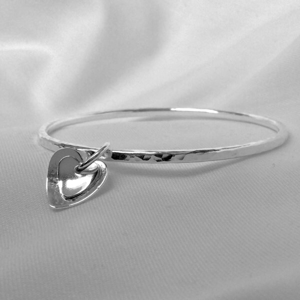 Sterling Silver Hammered Bangle - Silver Bracelet - Silver Heart Charm