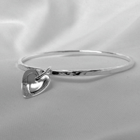 Sterling Silver  Bangle - Silver Hammered Bangle - Silver Heart Charm